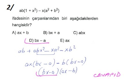üçrenk 10sınıf Matematik çarpanlara Ayırma Konusu çözümleri Test 3