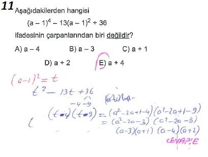 üçrenk 10sınıf Matematik çarpanlara Ayırma Konusu çözümleri Test 7