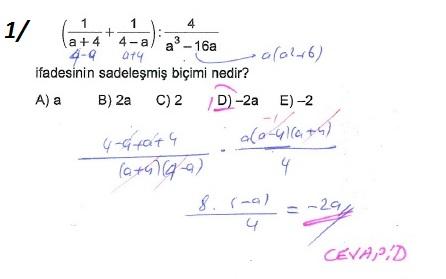 üçrenk 10sınıf Matematik çarpanlara Ayırma Konusu çözümleri Test 8